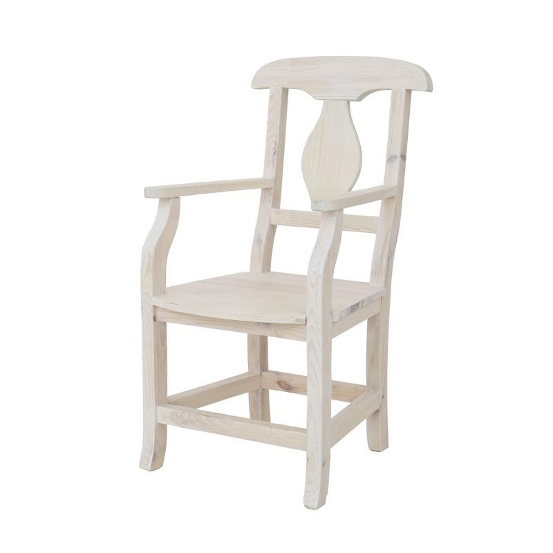 WYPRZEDAŻ - DOSTĘPNE OD RĘKI Drewniany fotel biały SIL 11