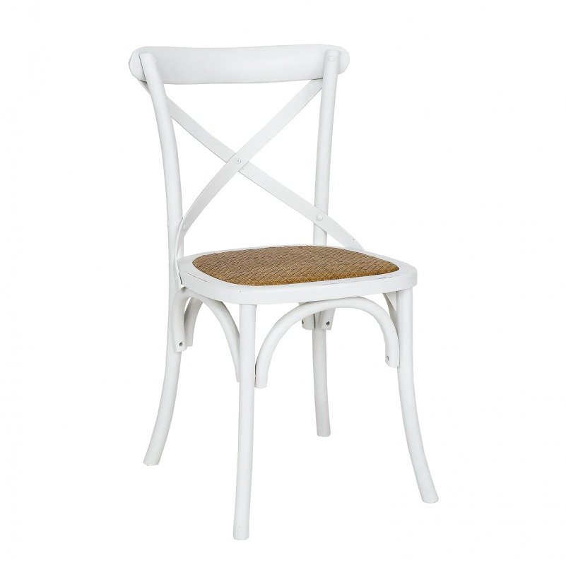 WYPRZEDAŻ - DOSTĘPNE OD RĘKI Krzesła drewniane biały z rattanem LARS