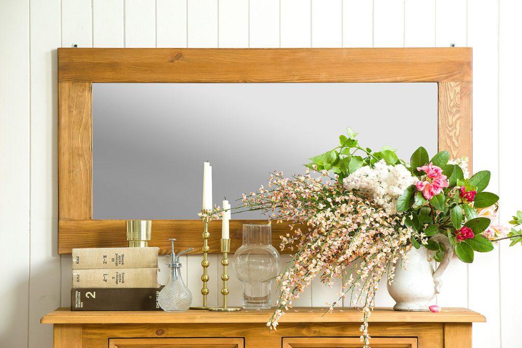 rustykalne lustro w drenianej ramie