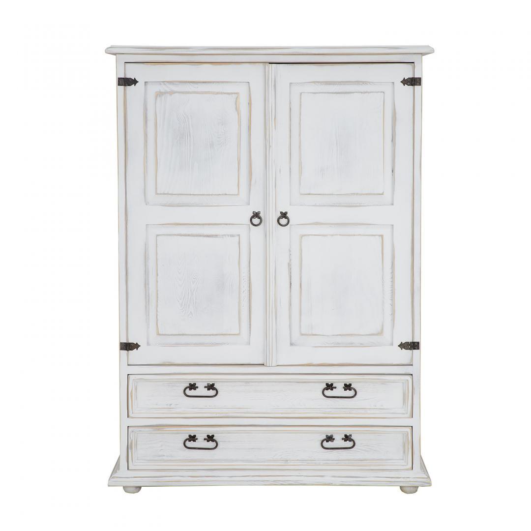 drewniana komoda biała postarzana rustykalna