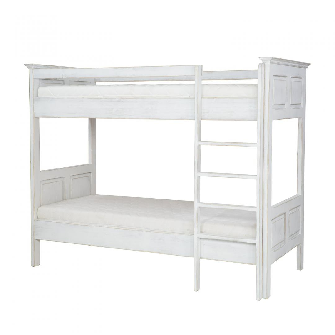 Białe łóżko piętrowe postarzane ACC07/k16