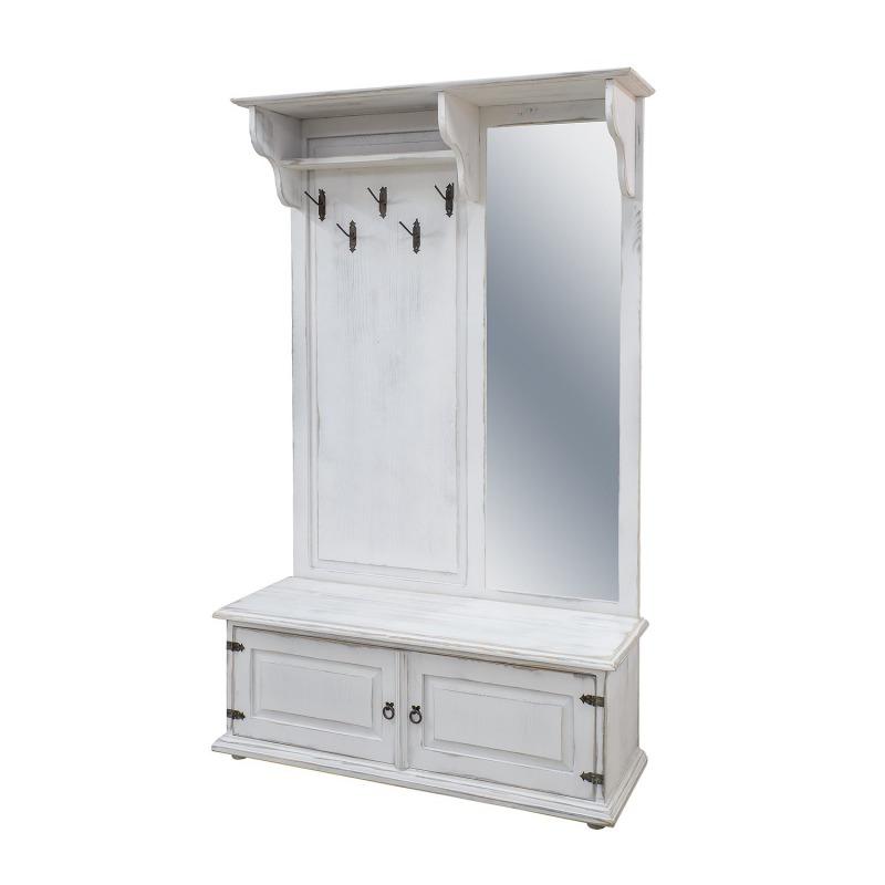 Biała garderoba drewniana z lustrem GAB02