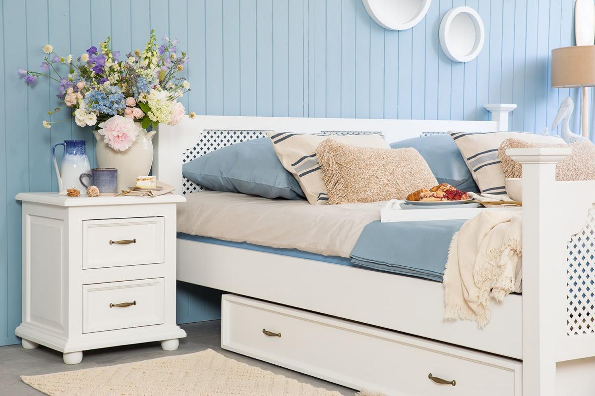 Zestaw mebli do sypialni, Łóżko 200x200 + szafki nocne + szuflady