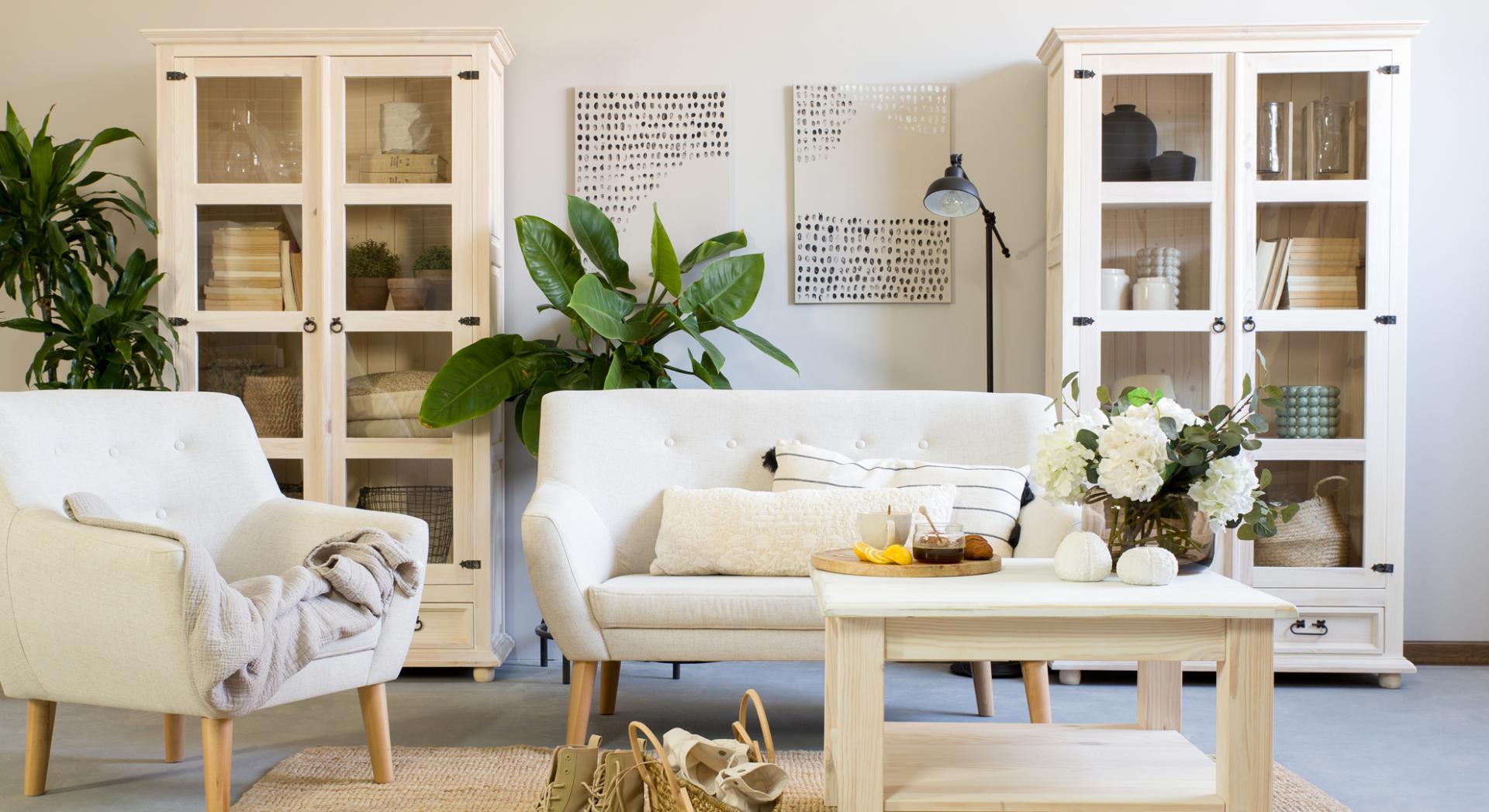 drewniane meble bielone do salonu