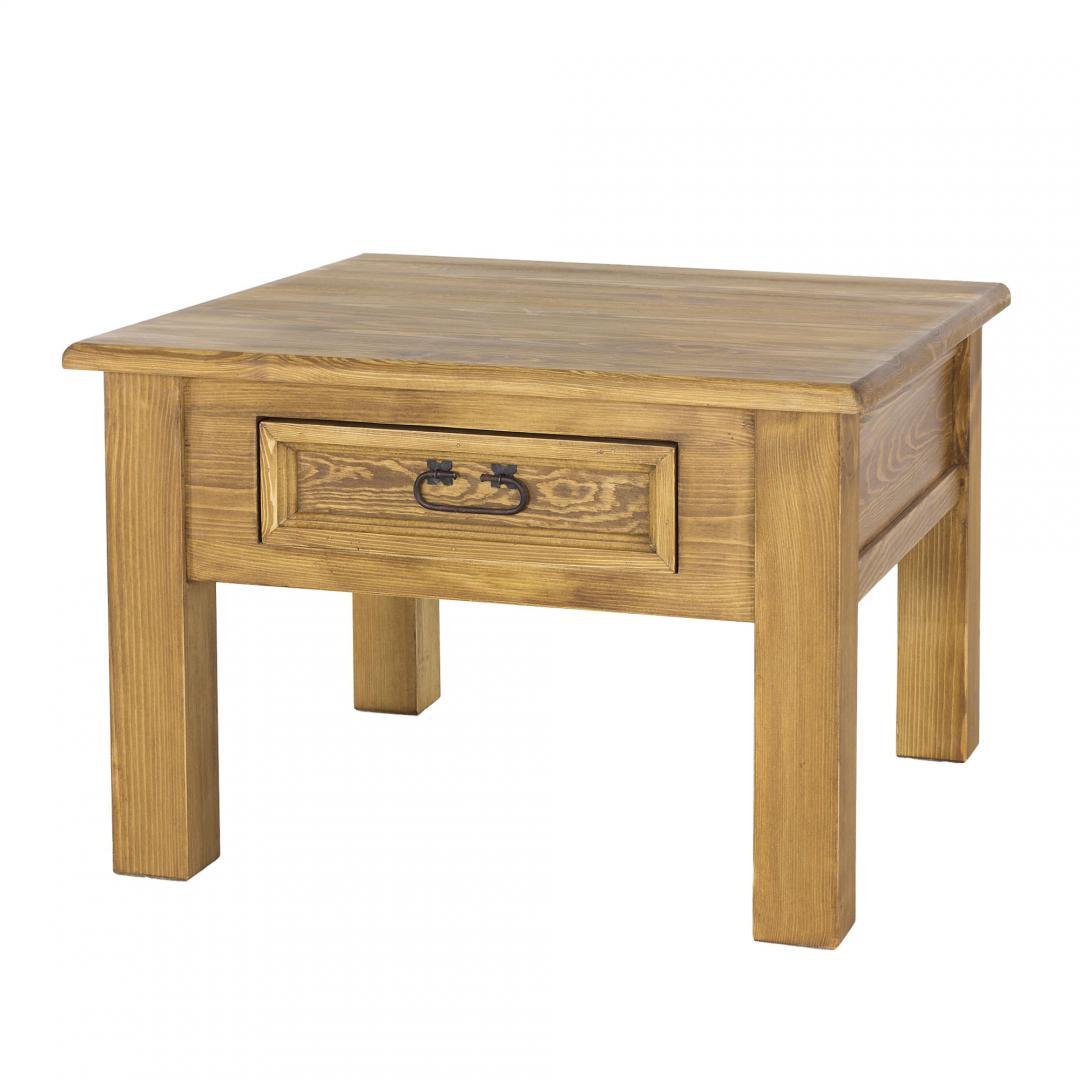 drewniany stolik kawowy z szufladką