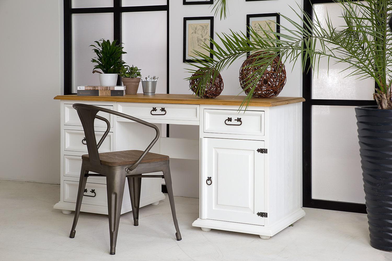 Białe biurko rustykalne BIK03