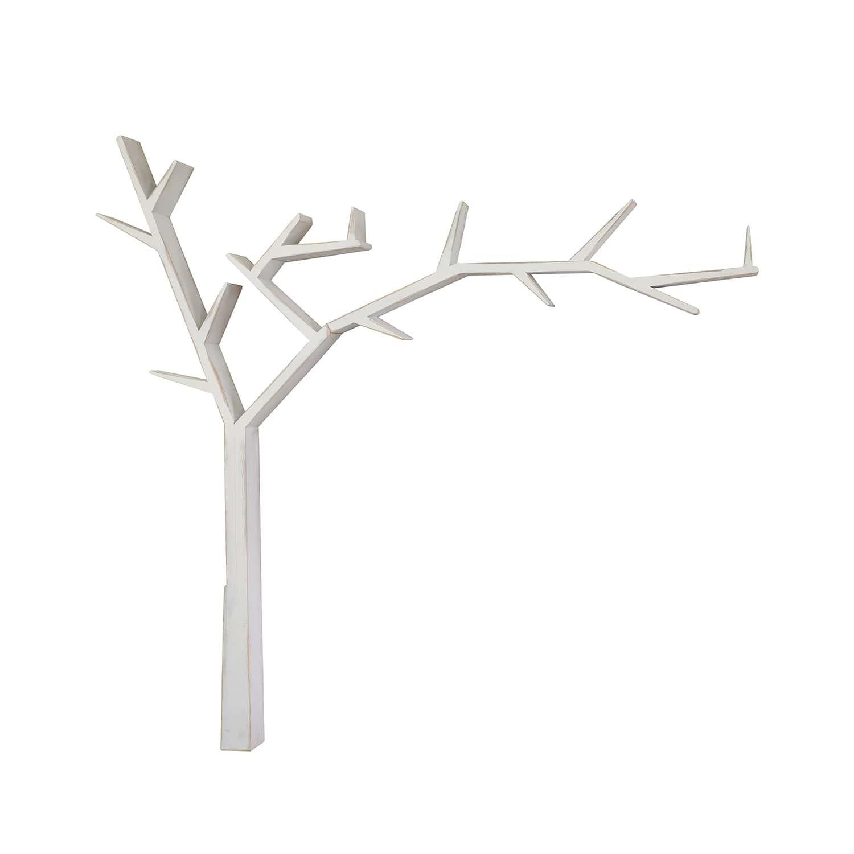 Drewniana półka drzewo COS17 /biel antyczna