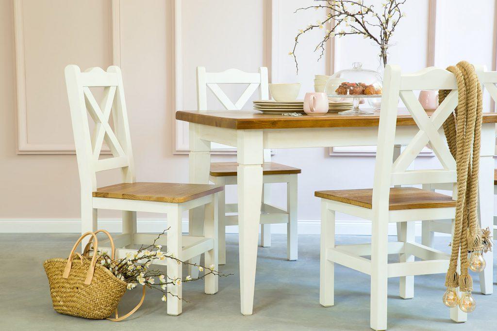 krzesła drewniane do jadalni w stylu rustykalnym