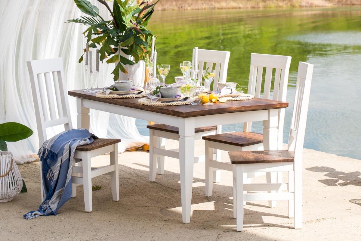 Biały stół woskowany do kuchni 160x90 SKN03 - DOSTĘPNY OD RĘKI