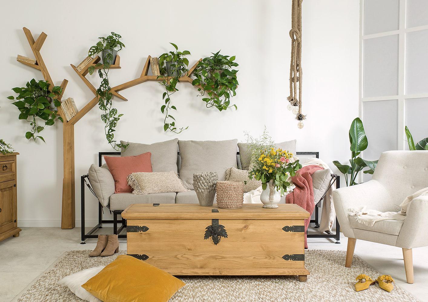 rustykalne meble do salonu polka drzewo