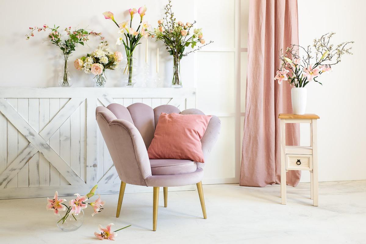 fotel tapicerowany glamour