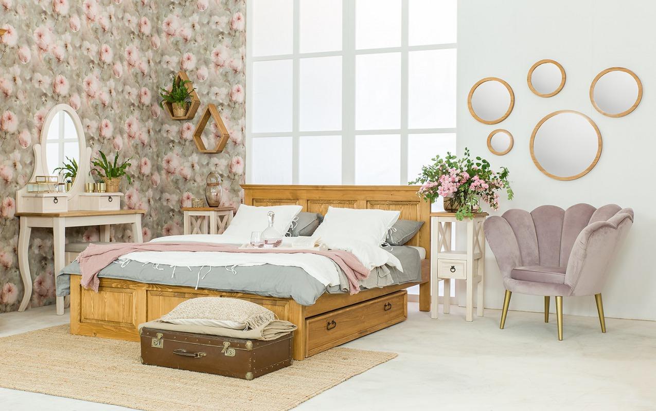 drewniane łóżko rustykalne do sypialn