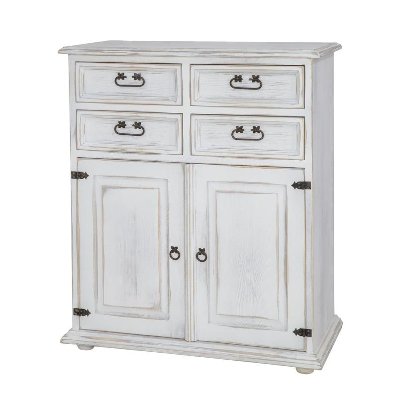 drewniana komoda w antycznej bieli