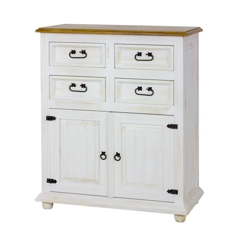 komoda drewniana biała patyna