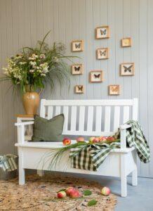 ławka drewniana z oparciem kuchenna sosnowa