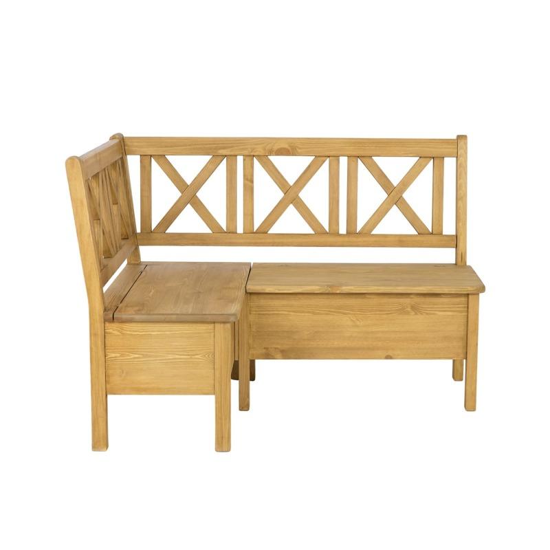 drewniana ławeczka narożna ze skrzynią