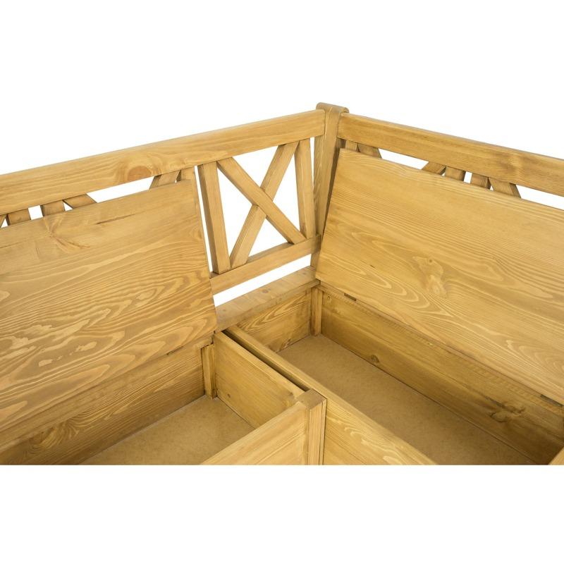 ławka z litego drewna otwierane siedzisko