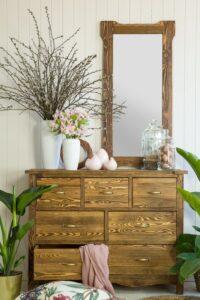 drewniane lustro woskowane
