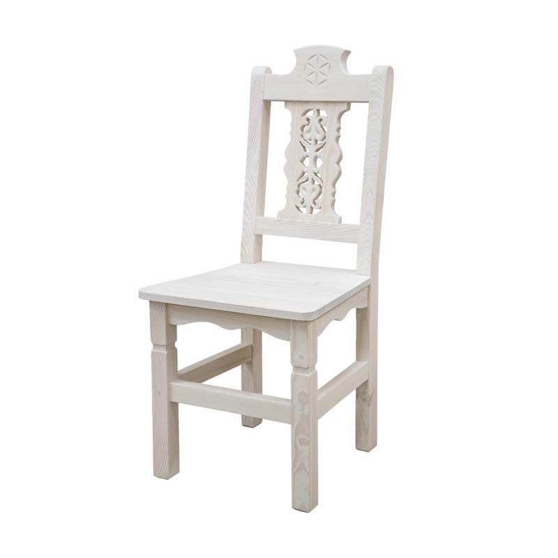 biale krzesło drewnaine do jadalni