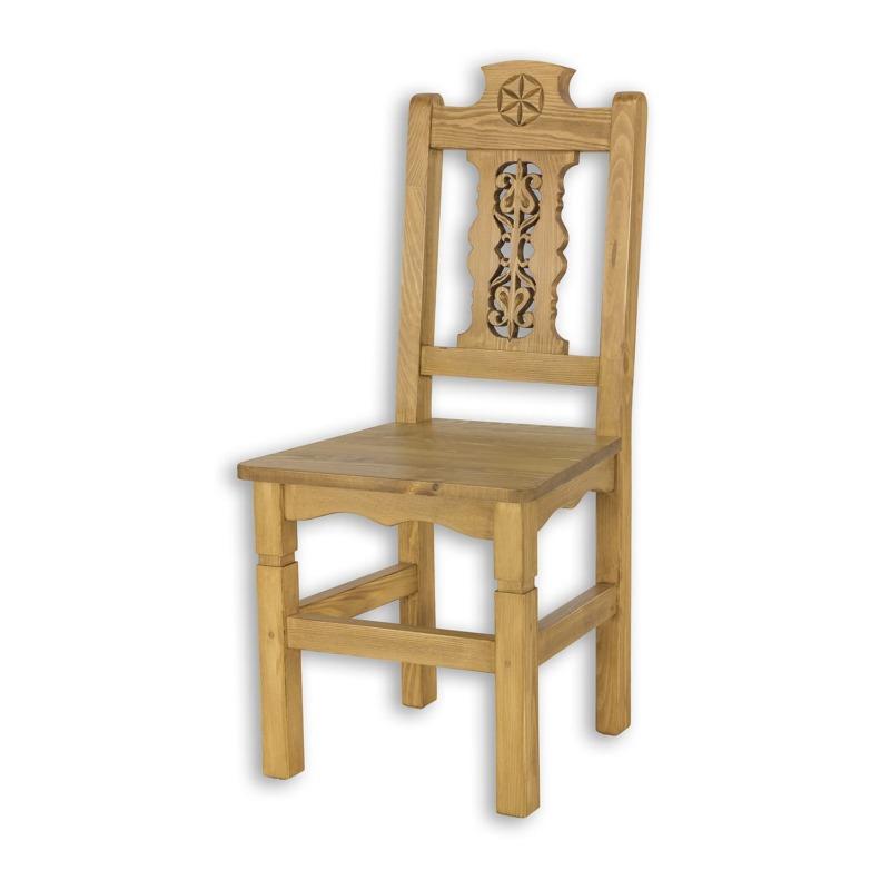 Drewniane krzesło rzeźbione SIL24