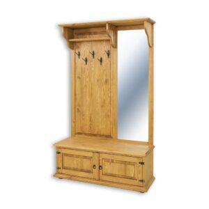 drewniana garderoba wieszak z lustrem woskowana