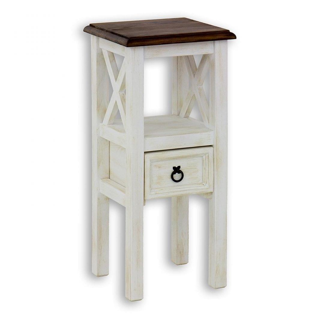 biały sosnowy stolik z sufladą