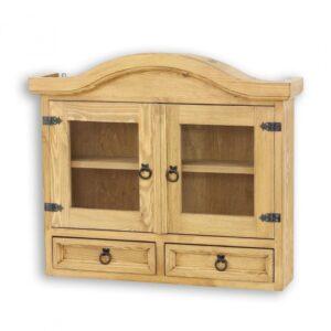 drewniana szafka wisząca przeszklona woskowana