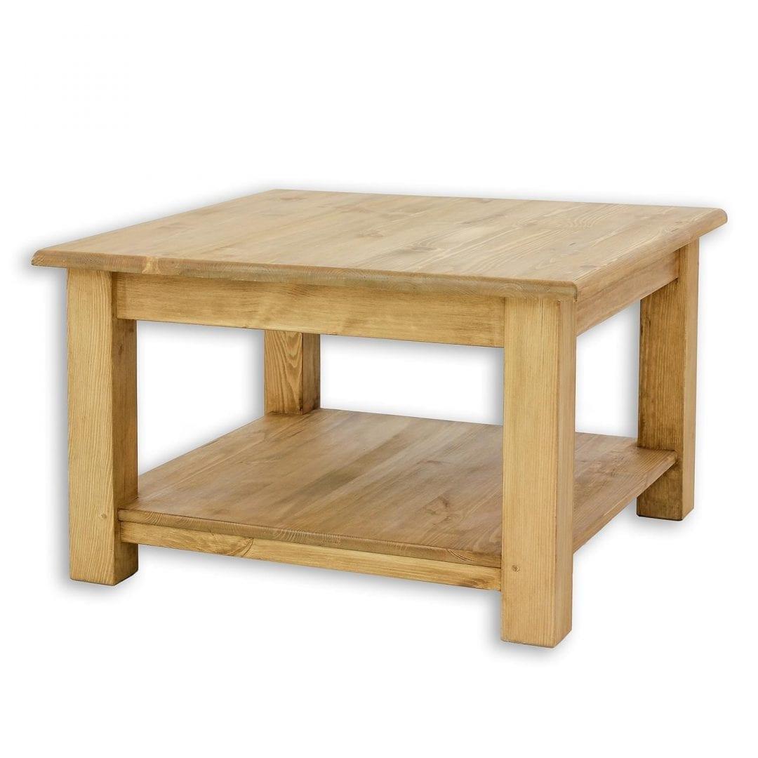 Drewniany stolik kawowy z półką - kwadratowy MES06