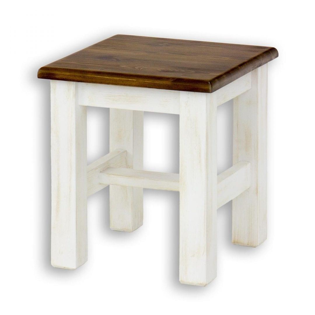 biały taboret z drewna litego