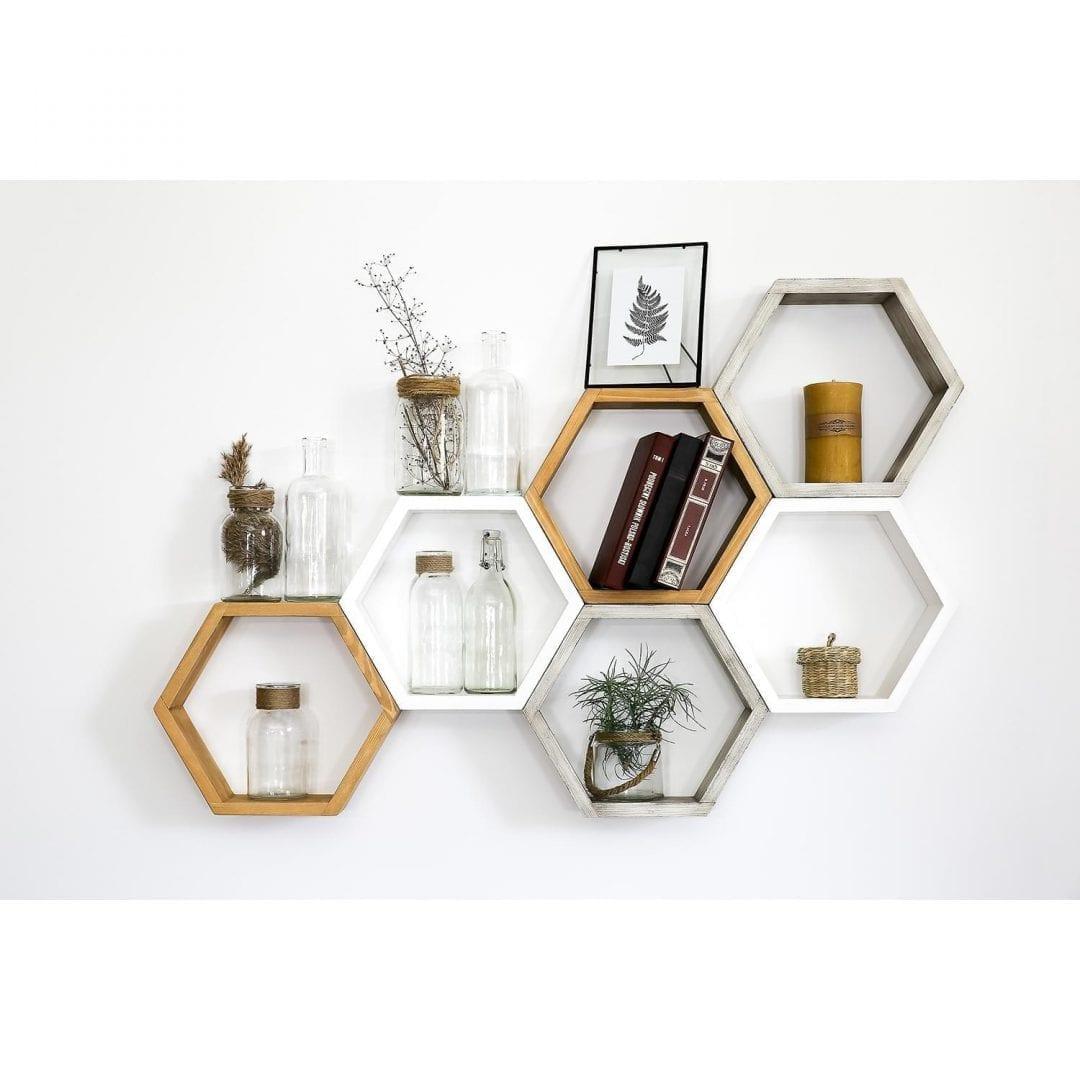 półki wiszące heksagon