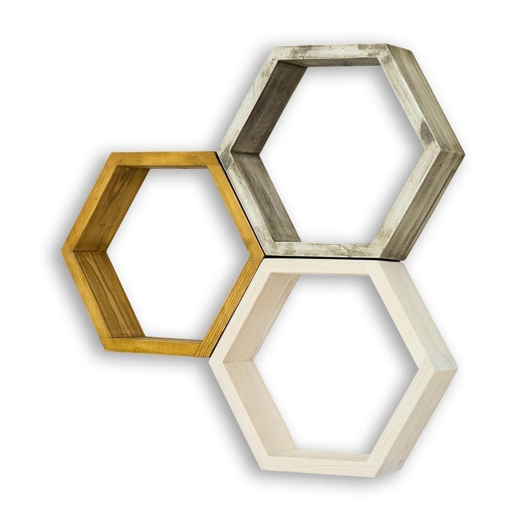 Drewniane półki plaster miodu COS18/3