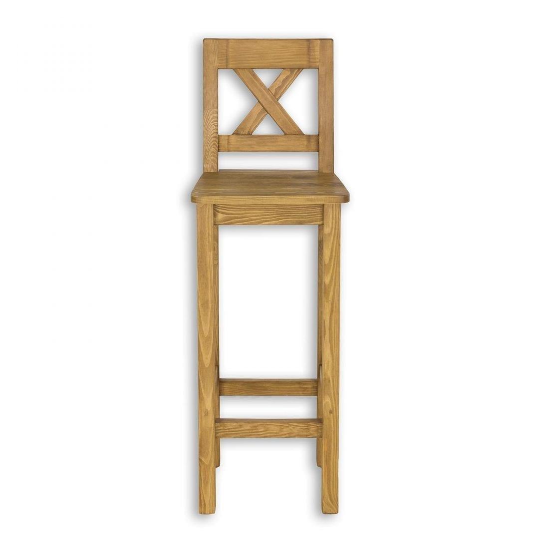 drewniane wysokie krzesło barowe z litego drewna sosnowego