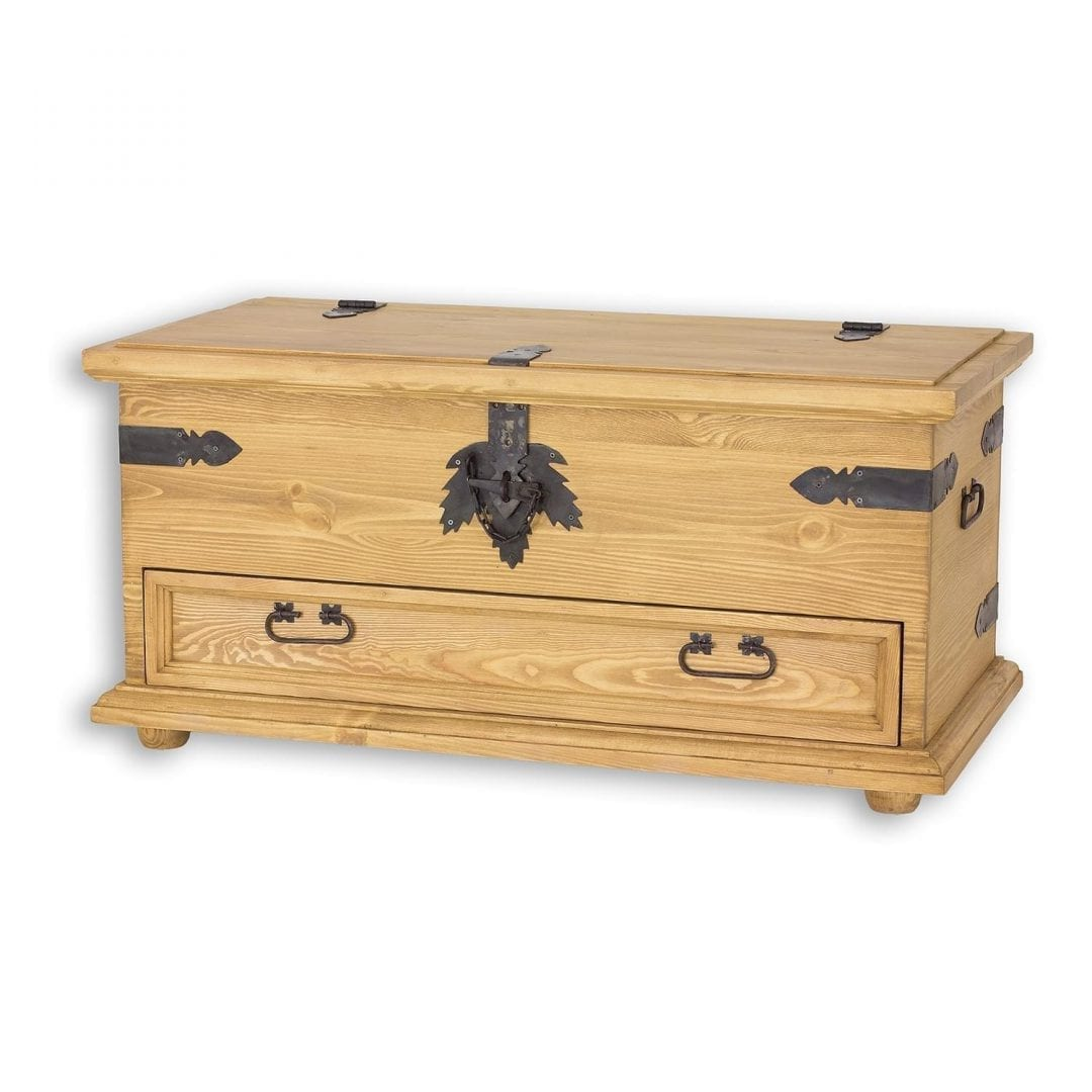 Drewniana skrzynia z szufladą COS15