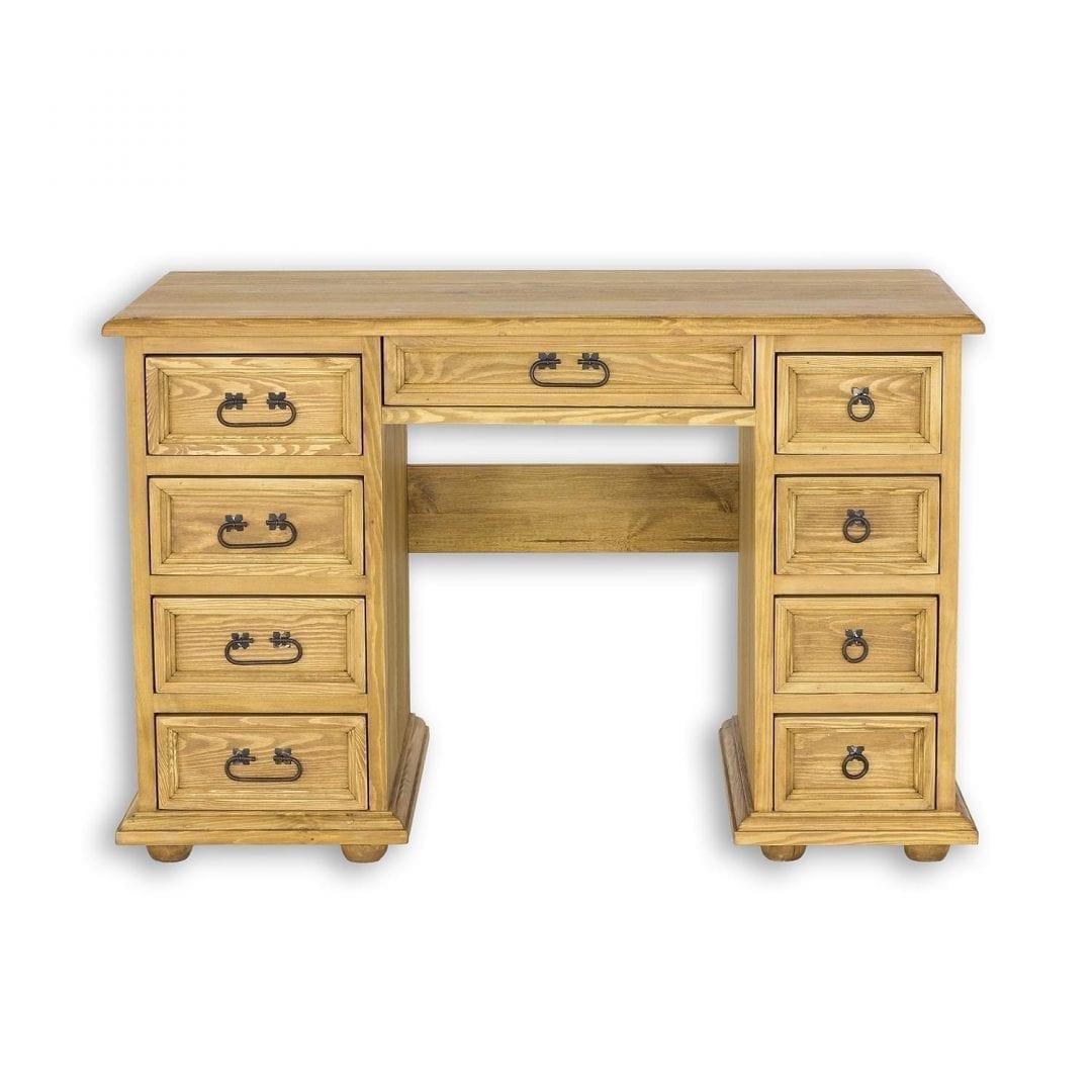 sosnowe biurko z dużą ilością szuflad