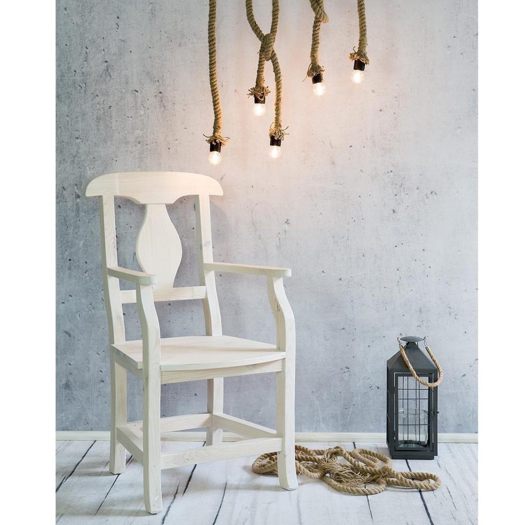Drewniany fotel biały wosk
